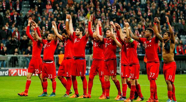 Bayern Munich players celebrate at the end of the victory over Arsenal Action Images via Reuters / John Sibley