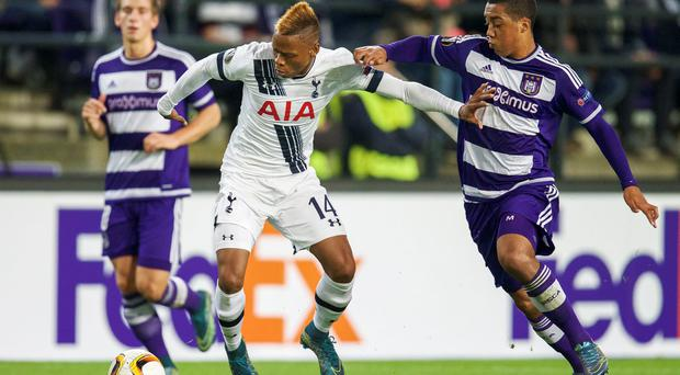 (L-R) Clinton Njie of Tottenham Hotspur FC, Youri Tielemans of RSC Anderlecht during the UEFA Europa League match between Anderlecht and Tottenham Hotspur