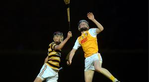 3 Nov 2015; Tomas Mac Eochaidh, Colaiste Eoin, in action against Ciaran Rice, Antrim Schools. Leinster Schools Senior A Hurling league. Colaiste Eoin v Antrim Schools. UCD, Belfield, Dublin. Picture: Caroline Quinn