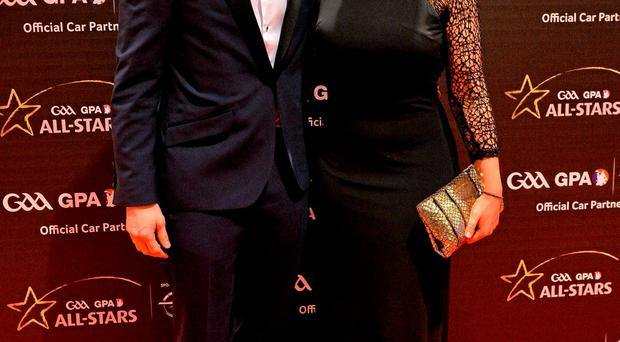 6 November 2015; Dublin footballer Bernard Brogan and Kiera Doyle arrive at the GAA GPA All-Star Awards 2015 Sponsored by Opel. Convention Centre, Dublin. Picture credit: Brendan Moran / SPORTSFILE