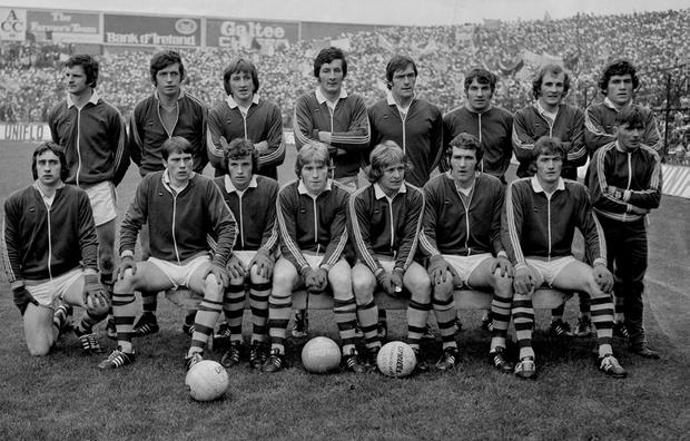 Leo Griffin far right on the front row with the Kerry team before the 1975 All-Ireland final against Dublin. Picture credit; Connolly Collection / SPORTSFILE