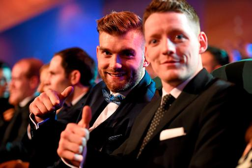 Mayo footballer Aidan O'Shea, left, and Monaghan footballer Conor McManus in attendance at the at the GAA GPA All-Star Awards