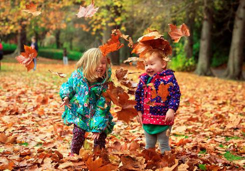 Brontie-Rose (3) & Ember-Jean Slade (20 months) enjoying the Autumn weather in St Stephens Green, Dublin