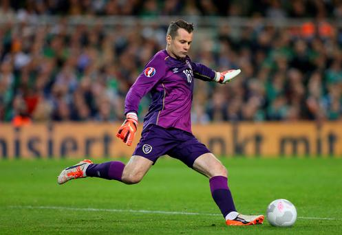 Shay Given in action during the UEFA group D match against Germany at the Aviva Stadium on October 8, 2015 in Dublin