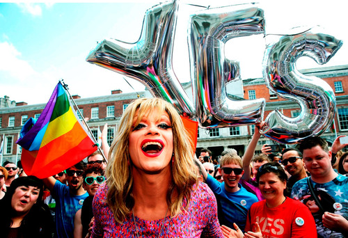 Panti Bliss celebrates with crowds at Dublin Castle following the Yes vote in the referendum