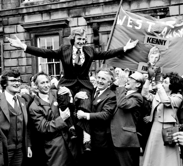 24-year-old Enda Kenny is welcomed to the Dáil for the first time in November 1975 after winning his late father's seat