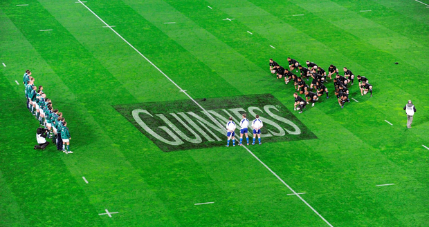 Alcohol ads on the pitch before a game between Ireland and the All Blacks during a recent Autumn International series