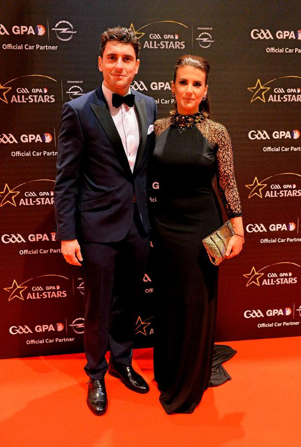 Dublin footballer Bernard Brogan and Kiera Doyle arrive at the GAA GPA All-Star Awards 2015 Sponsored by Opel. Convention Centre, Dublin. Picture credit: Brendan Moran / SPORTSFILE