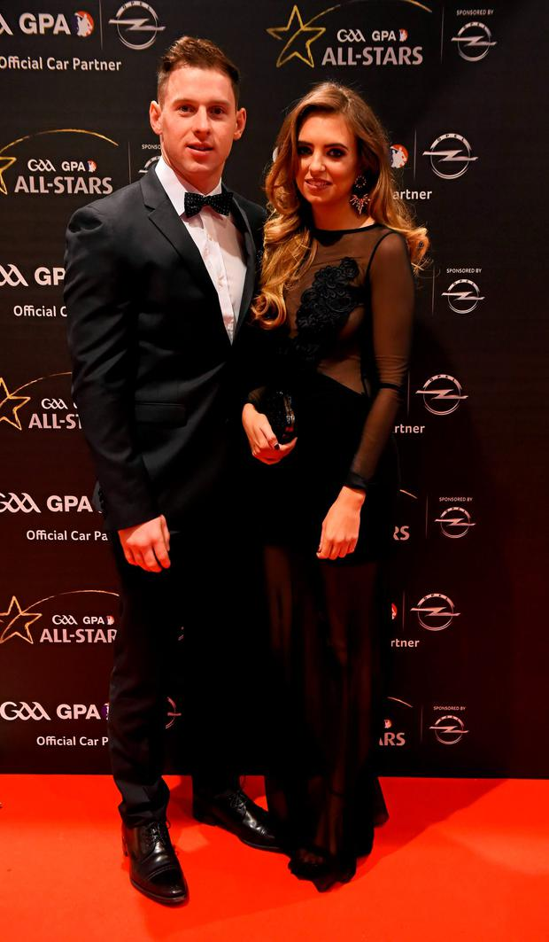 Dublin footballer Philly McMahon and Sarah Lacey arrive at the GAA GPA All-Star Awards 2015 Sponsored by Opel. Convention Centre, Dublin. Picture credit: Paul Mohan / SPORTSFILE