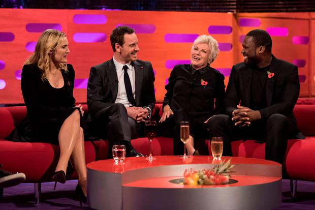 (Left-right) Kate Winslet, Michael Fassbender, Julie Walters and 50 Cent during filming of the Graham Norton Show at The London Studios, south London, to be aired on BBC One