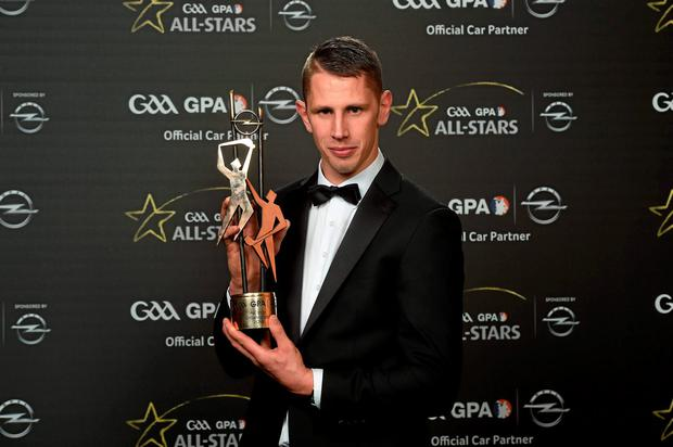Maurice Shanahan, Waterford, with his GAA GPA All-Star Award at the GAA GPA All-Star Awards 2015 Sponsored by Opel. Convention Centre, Dublin. Picture credit: Paul Mohan / SPORTSFILE