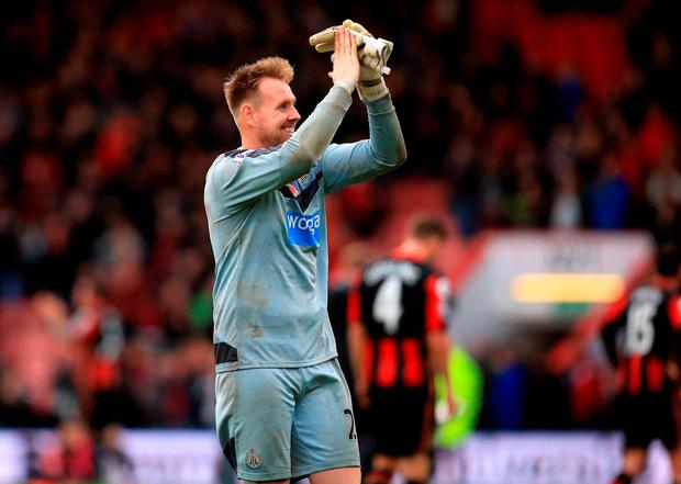 Man of the Match - Newcastle United goalkeeper Robert Elliot celebrates victory
