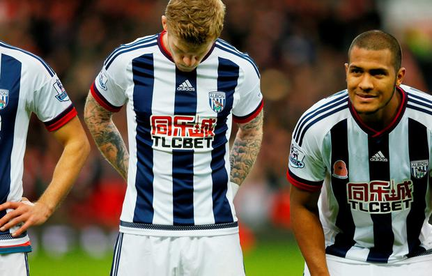 West Brom's James McClean (C) and Salomon Rondon before the game Action Images via Reuters / Jason Cairnduff Livepic