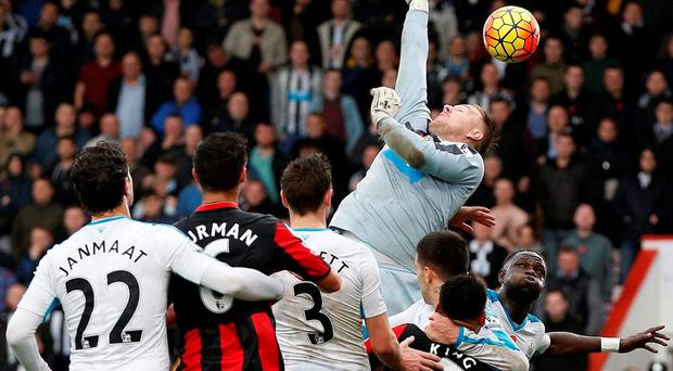 Rob Elliot jumps as he attempts to reach the ball following a Bournemouth corner during the English Premier League football match between Bournemouth and Newcastle United