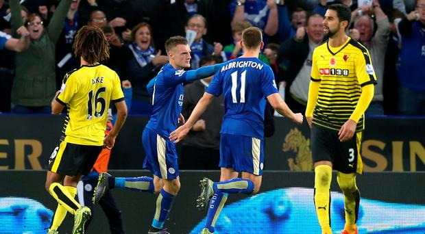 Jamie Vardy celebrates after scoring the second goal for Leicester from the penalty spot Action Images via Reuters / Alex Morton Livepic
