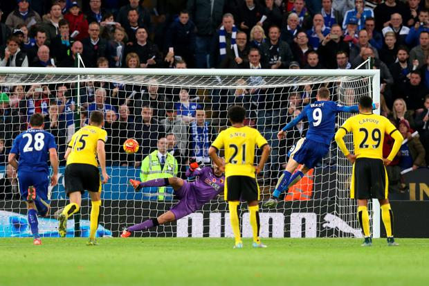 Jamie Vardy scores the second goal for Leicester from the penalty spot Action Images via Reuters / Alex Morton Livepic