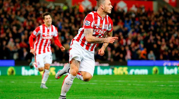 Football - Stoke City v Chelsea - Barclays Premier League - Britannia Stadium - 7/11/15 Stoke's Marko Arnautovic celebrates after scoring the first goal for his side Reuters / Darren Staples Livepic EDITORIAL USE ONLY. No use with unauthorized audio, video, data, fixture lists, club/league logos or
