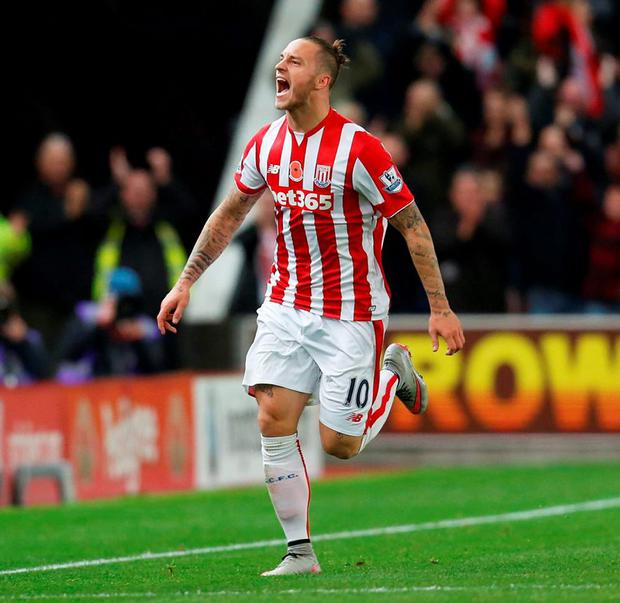 Stoke's Marko Arnautovic celebrates after scoring the winning goal against Chelsea yesterday evening.