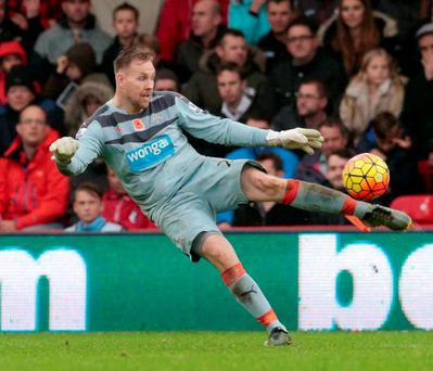 Rob Elliot in action for Newcastle against Bournemouth yesterday
