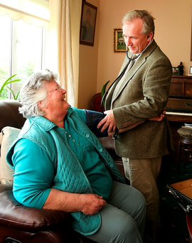 Good neighbours: Dr Padraig McGarry making a house call to Pat Wilson in Ballinalee, Co Longford