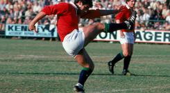 ON TARGET: Tony Ward of the Lions in action during the test series between South Africa and the British and Irish Lions in South Africa in 1980