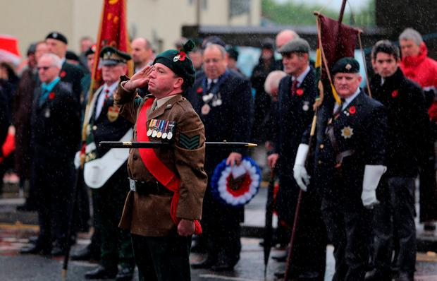 Veterans gather for Remembrance Sunday at the Cenotaph in Enniskillen, Co Fermanagh, held in tribute for members of the armed forces who have died in major conflicts