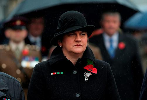 Northern Ireland Finance Minister Arlene Foster during Remembrance Sunday at the Cenotaph in Enniskillen, Co Fermanagh, held in tribute for members of the armed forces who have died in major conflicts