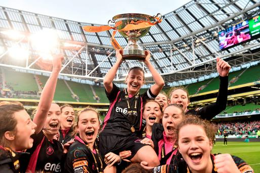Wexford Youths WAFC captain Kylie Murphy is lifted shoulder high by her team-mates as she celebrates with the cup. Continental Tyres FAI Women's Senior Cup Final, Wexford Youths WAFC v Shelbourne Ladies FC. Aviva Stadium, Dublin. Picture credit: David Maher / SPORTSFILE