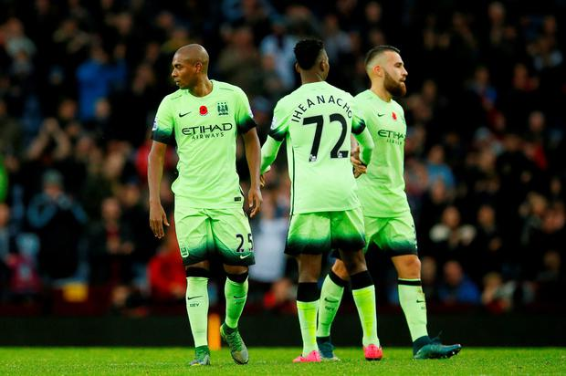 Football - Aston Villa v Manchester City - Barclays Premier League - Villa Park - 8/11/15 Manchester City's Fernandinho (L), Kelechi Iheanacho and Nicolas Otamendi looks dejected after the game Action Images via Reuters / Jason Cairnduff Livepic
