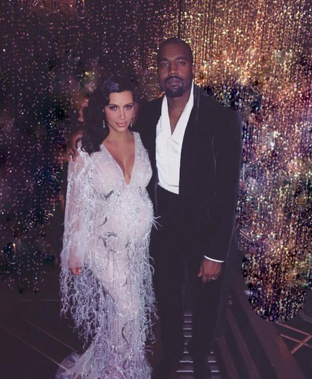 Kim Kardashian and Kanye West at Kris Jenner's 60th birthday