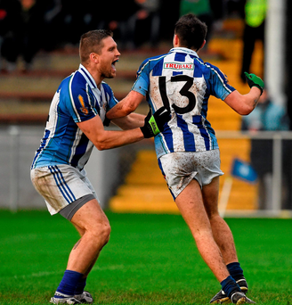 Colm Basquel, Ballyboden St. Enda's, left, celebrates after scoring a second half goal with team-mate Conal Keaney. Enda's. AIB Leinster GAA Senior Club Football Championship Quarter-Final, St Patrick's v Ballyboden St. Enda's. County Grounds, Drogheda, Co. Louth. Picture credit: Ray McManus / SPORTSFILE