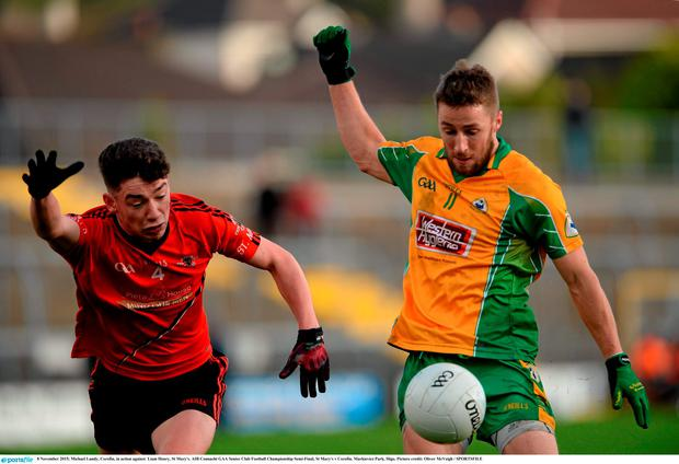 8 November 2015; Michael Lundy, Corofin, in action against Liam Henry, St Mary's. AIB Connacht GAA Senior Club Football Championship Semi-Final, St Mary's v Corofin. Markievicz Park, Sligo. Picture credit: Oliver McVeigh / SPORTSFILE
