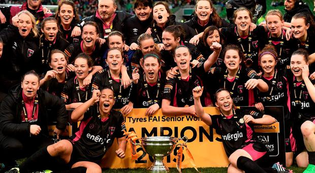 Wexford Youths WAFC players celebrate with the cup. Continental Tyres FAI Women's Senior Cup Final, Wexford Youths WAFC v Shelbourne Ladies FC. Aviva Stadium, Dublin. Picture credit: David Maher / SPORTSFILE