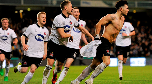 Richie Towell, Dundalk FC, celebrates after scoring his team's opening goal. Irish Daily Mail Cup Final, Dundalk FC v Cork City FC. Aviva Stadium, Lansdowne Road, Dublin. Picture credit: Seb Daly / SPORTSFILE