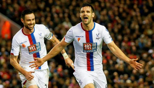 Crystal Palace's Scott Dann celebrates scoring their second goal with Damien Delaney (L) Action Images via Reuters / Lee Smith Livepic