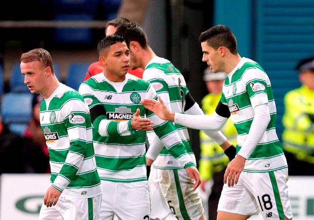 Celtic's Tom Rogic (R) celebrates scoring their first goal Action Images via Reuters / Graham Stuart Livepic