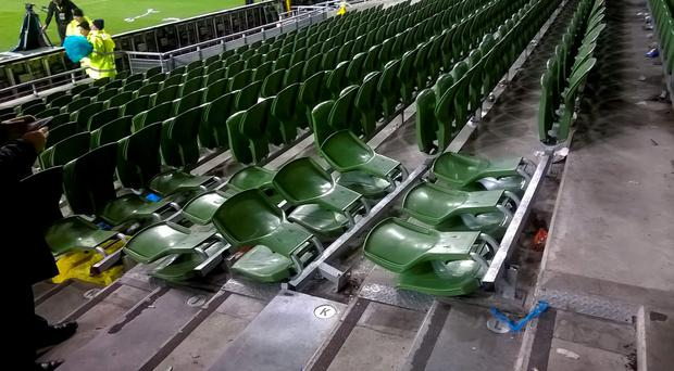Damaged seats in the North Stand of the Aviva Stadium