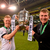 Daryl Horgan, Dundalk FC, and manager Stephen Kenny celebrate with the cup last year