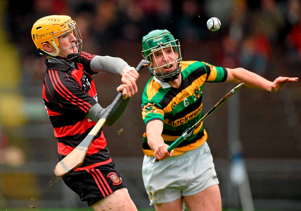 Ballygunner's Peter Hogan is closed down by Glen Rovers' Brian Moylan at Walsh Park, Waterford