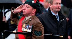 Taoiseach Enda Kenny during Remembrance Sunday at the Cenotaph in Enniskillen, Co Fermanagh, where tributes were paid to members of the armed forces who died in major conflicts. Photo: Niall Carson