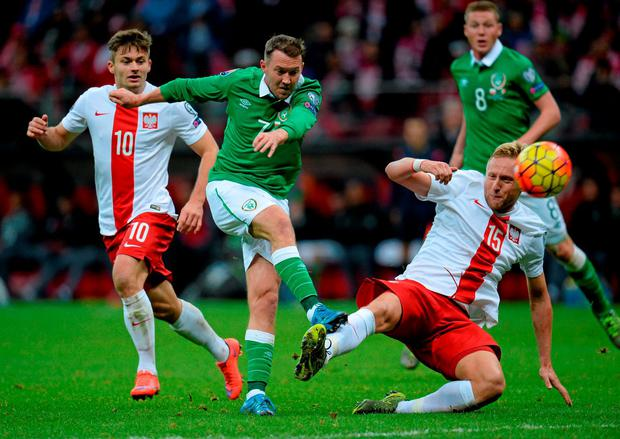Aiden McGeady in action against Poland, one of only three appearances he has made for club and country this season