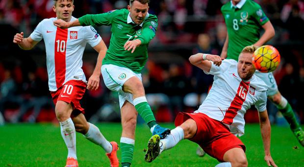 Aiden McGeady in action against Poland