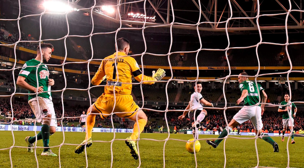 Dundalk's Richie Towell scores the only goal of yesterday's FAI Cup final