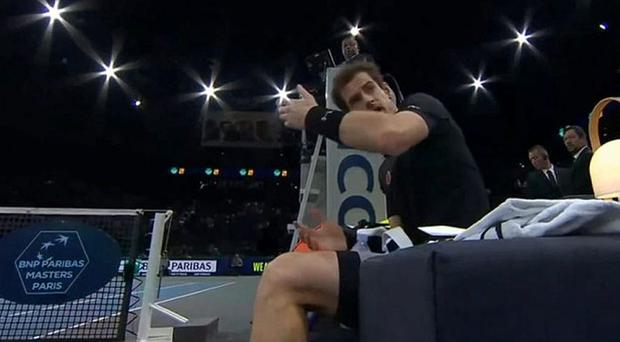 Andy Murray reacts after being stuck with the ball (Photo: Sky Sports / BeIN Sports)