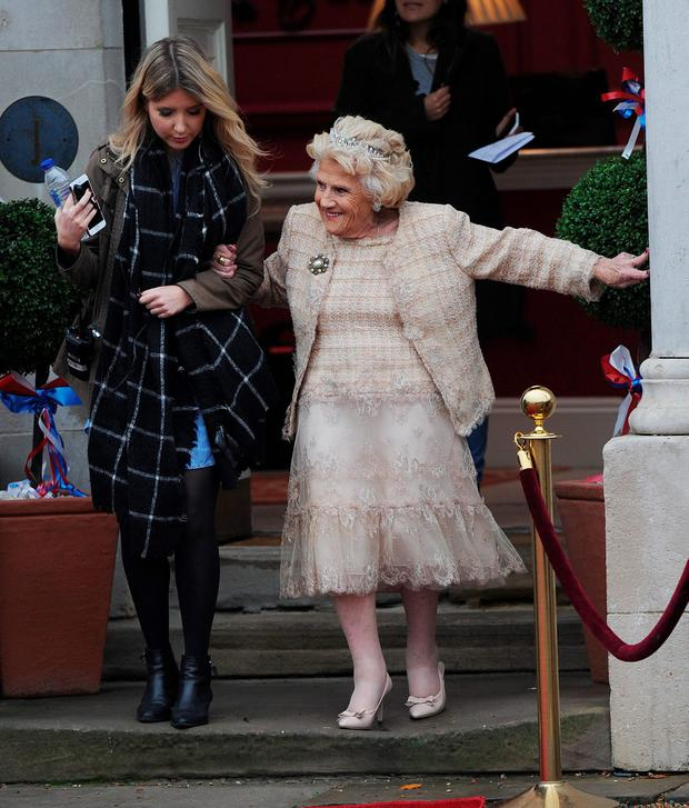 The TOWIE cast are seen filming scenes for Nanny Pats Royal themed 80th birthday on November 8, 2015 in London, England. (Photo by SamanthaJ/GC Images)