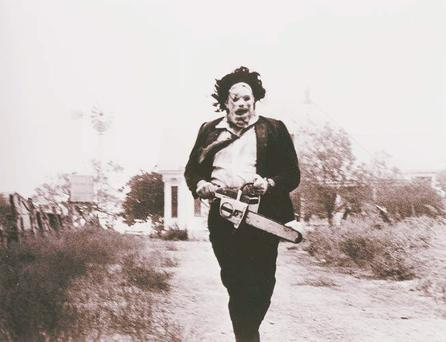 Gunnar Hansen in a still from the film Texas Chain Saw Massacre in which he played Leatherface