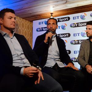 5 Nov 2015; Craig Doyle hosts event with Brian O'Driscoll, left, and Rio Ferdinand, centre. BT Sport event. Bridge Bar, Ballsbridge, Dublin. Picture: Caroline Quinn