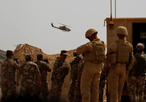 US and Jordanian soldiers participate in Exercise Eager Lion at the Jordan-Saudi Arabia border Credit: REUTERS