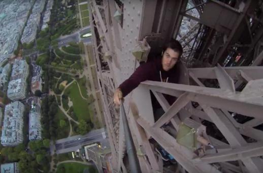 The British climber spent more than eight hours scaling the ironic tower Credit: James Kingston