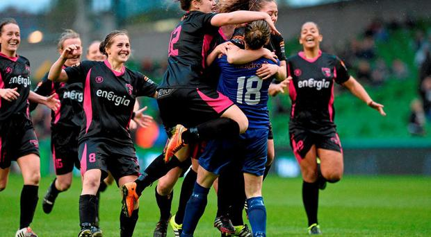 8 November 2015; Wexford Youths WAFC players celebrate after victory in the penalty shoot out. Continental Tyres FAI Women's Senior Cup Final, Wexford Youths WAFC v Shelbourne Ladies FC. Aviva Stadium, Dublin. Picture credit: David Maher / SPORTSFILE